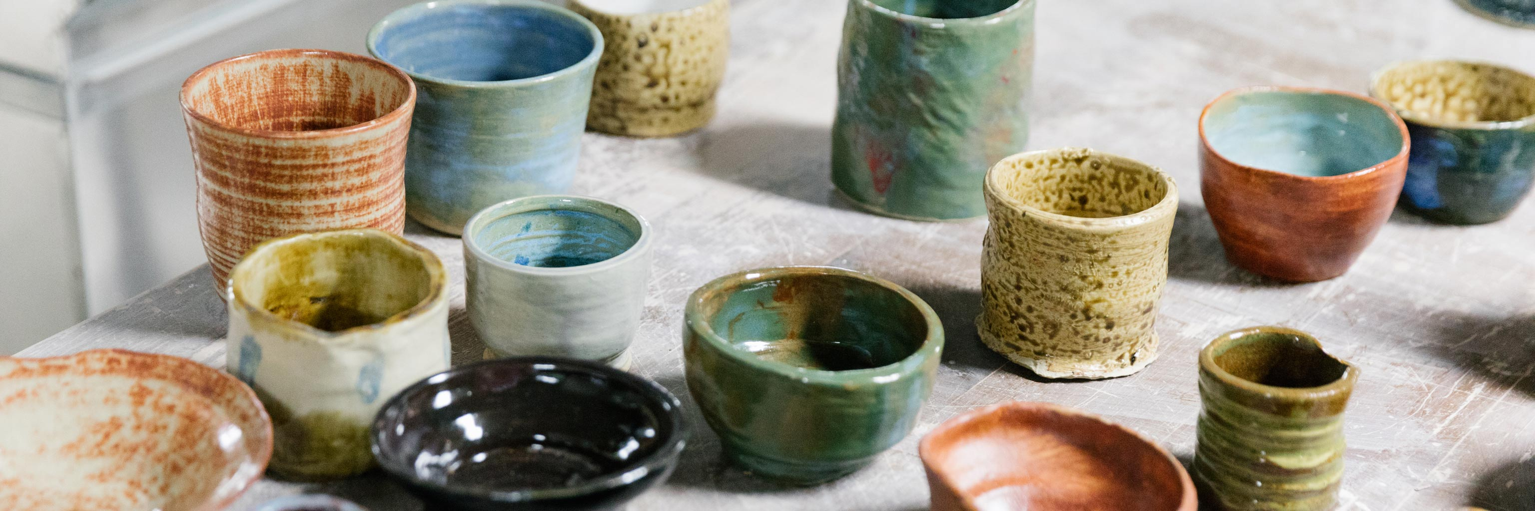 An assortment of glazed pottery