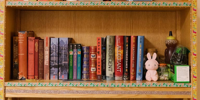 Bookshelf lined with books and trinkets