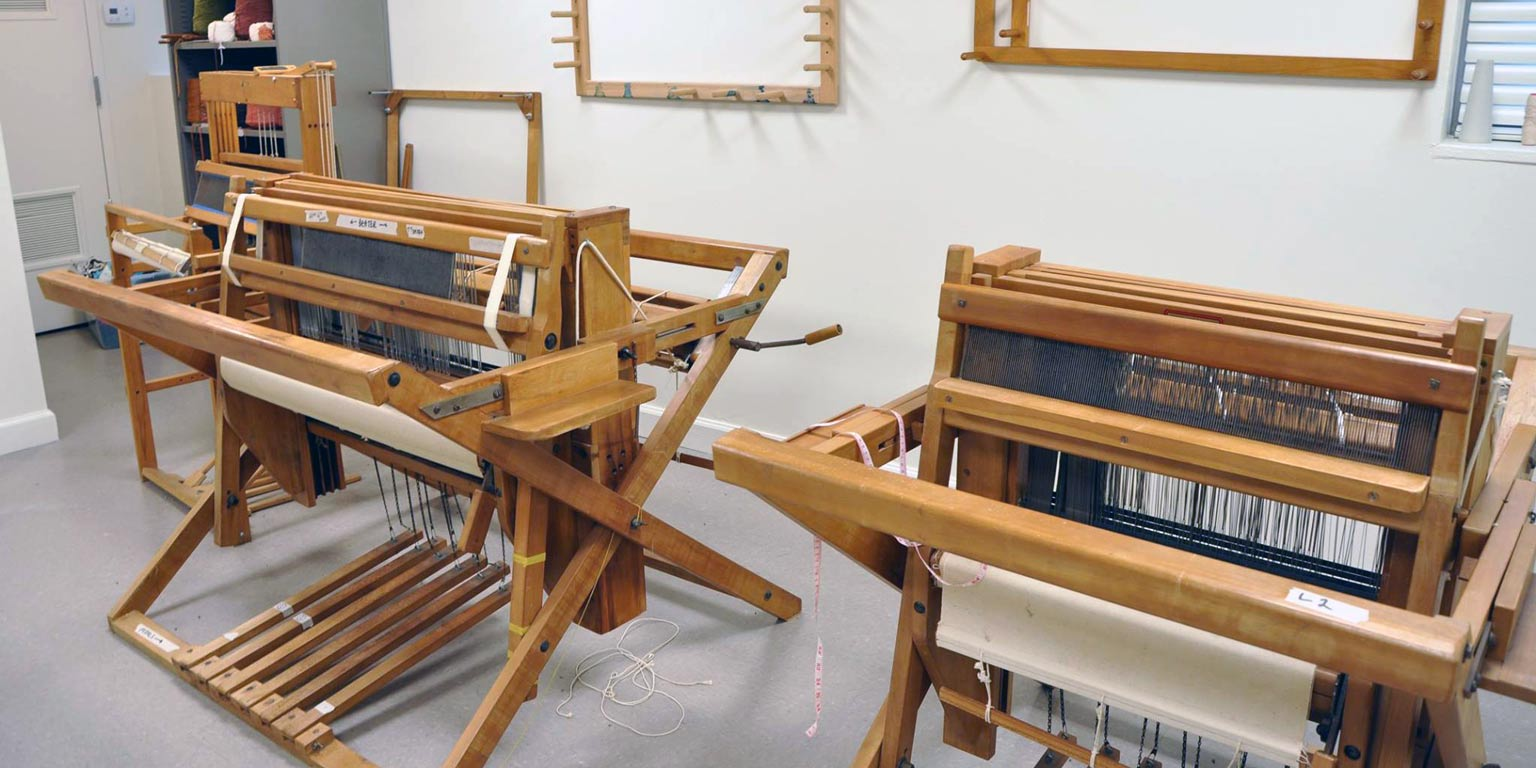 Two large textile looms