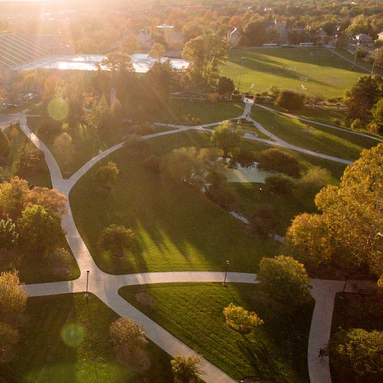 Aerial shot of IU Bloomington campus