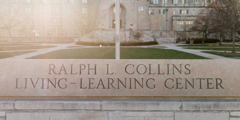 Ralph L. Collins Living-Learning center stone sign